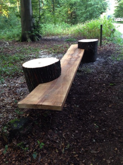 Stump and Plank Garden Bench