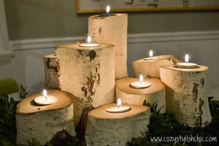 Tree Stump Candle Holders