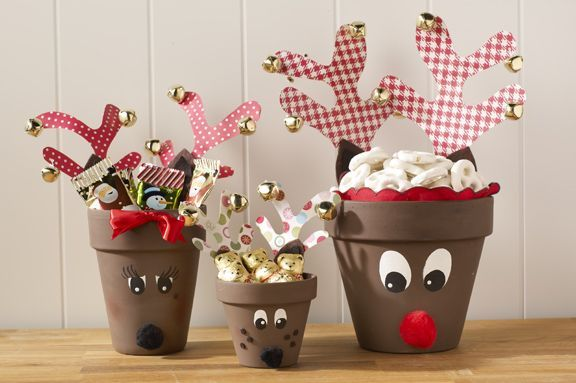 Cute Clay Pot Reindeer