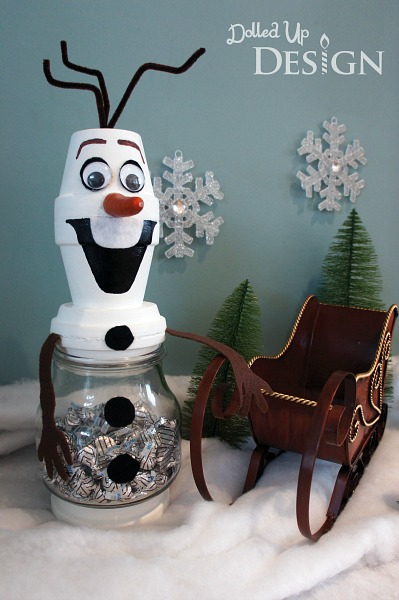 Terracotta Pot Olaf Candy Jar