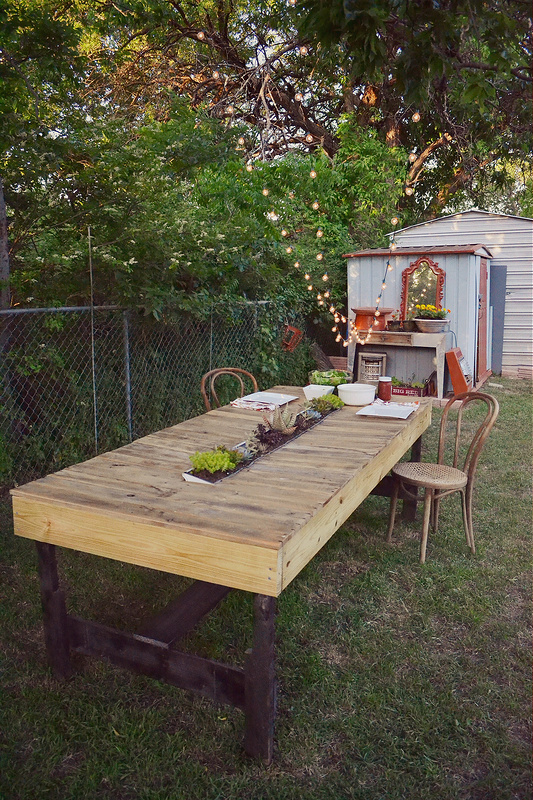 Farmhouse Table with Gutter Planter