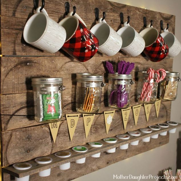 Pallet Coffee and Tea Drink Station