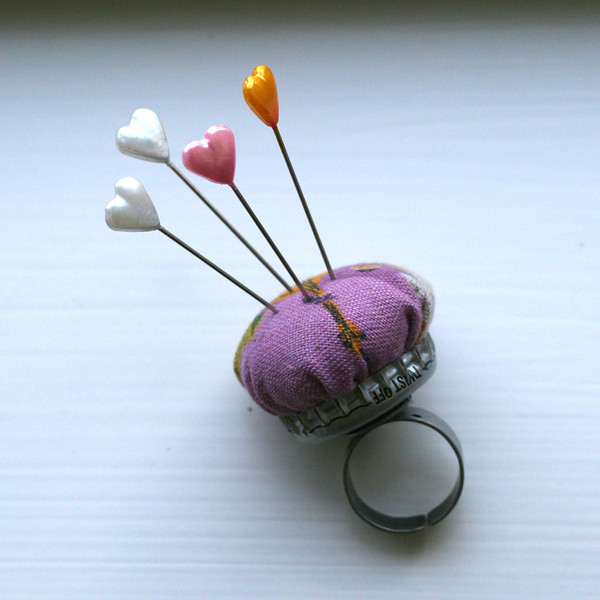 Bottle Cap Pin Cushion Ring