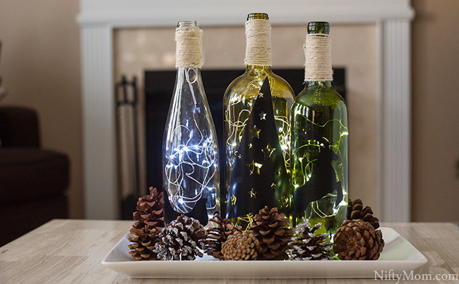 Lighted Wine Bottle Holiday Decor
