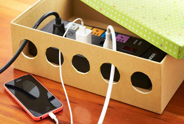 Neatly conceal your power cord in a shoebox