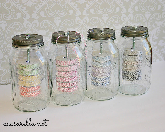 Prevent string and ribbon from knotting by storing them in jars