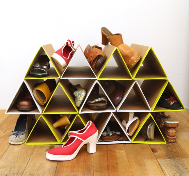 Turn cardboard boxes into space-saving shoe storage