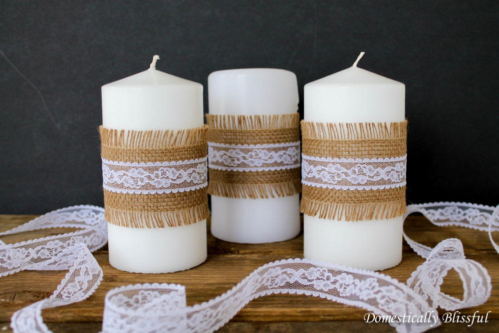 Burlap and Lace Candles