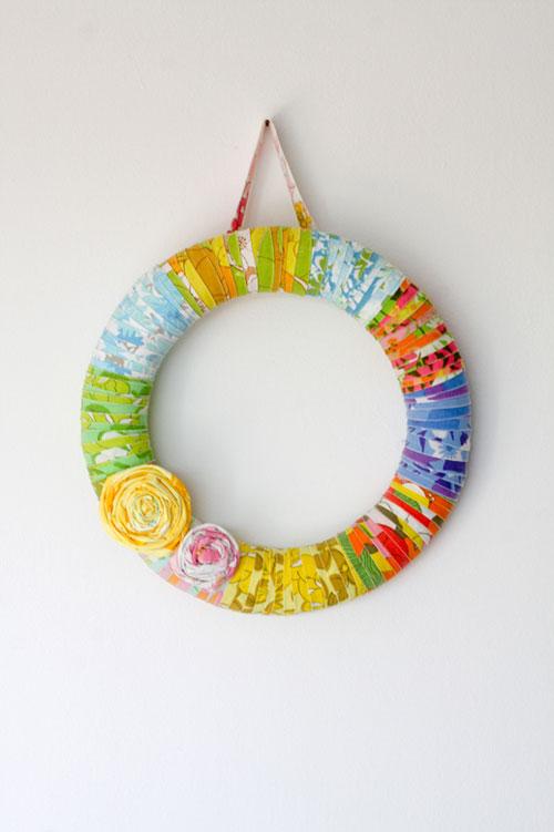 Colorful Vintage Sheet Wreath