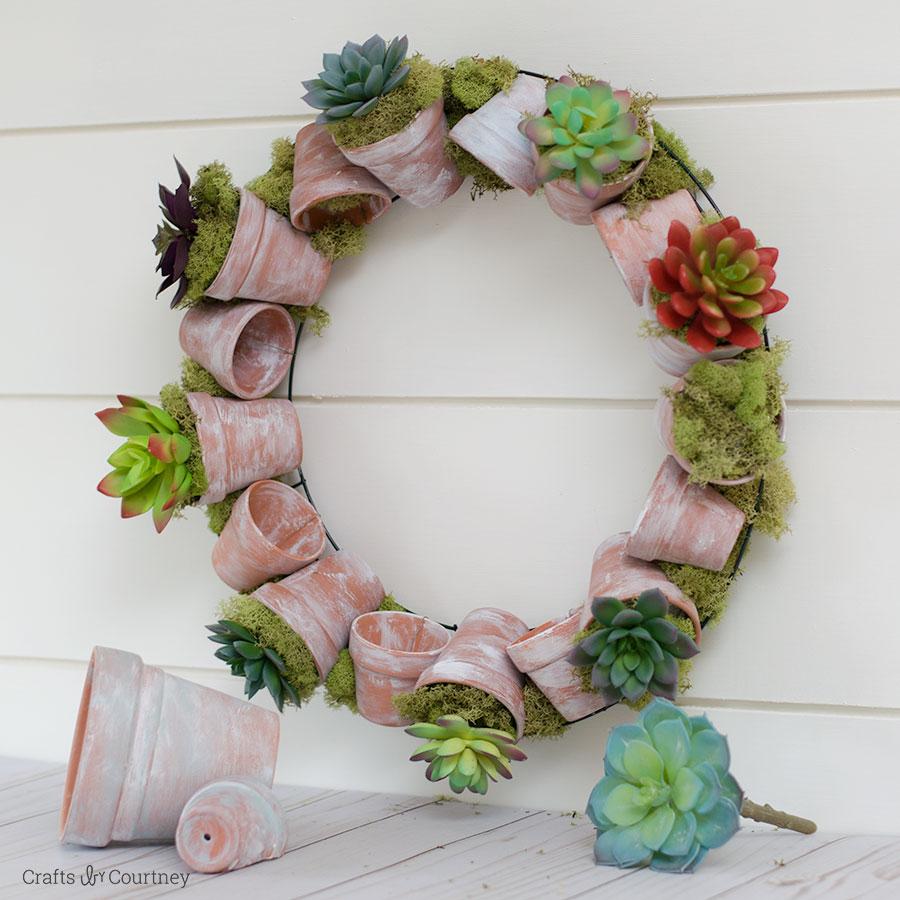 Succulent Wreath with Terracotta Pots