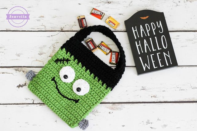 Crochet Frankenstein Trick or Treat Bag