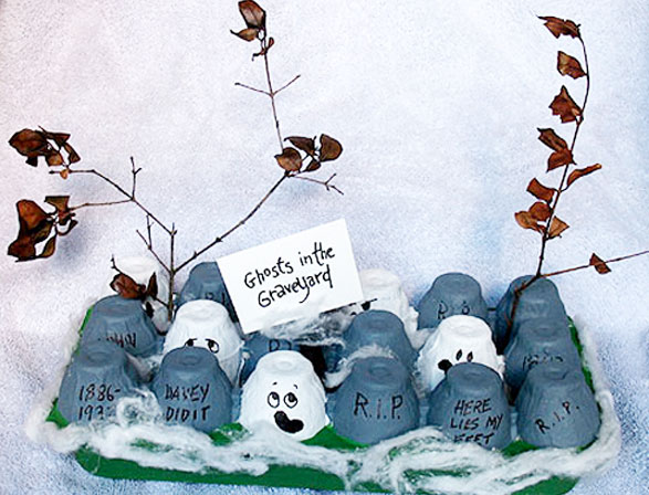 Egg Carton Ghosts in the Graveyard