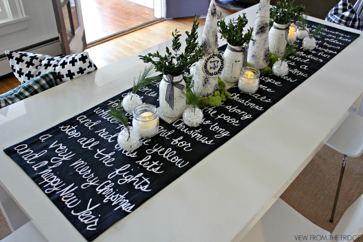 Black and White Christmas Song Lyric Table Runner