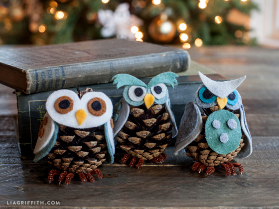 Felt and Pine Cone Owl Ornaments