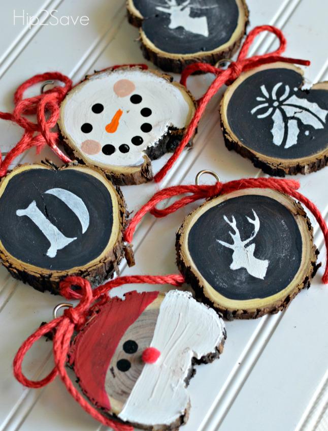 Sliced Wood Christmas Ornaments