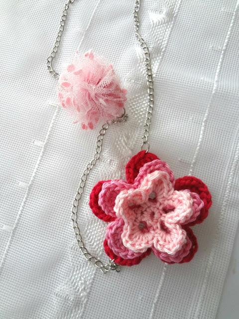 Pom-Pom and Crochet Flower Necklace