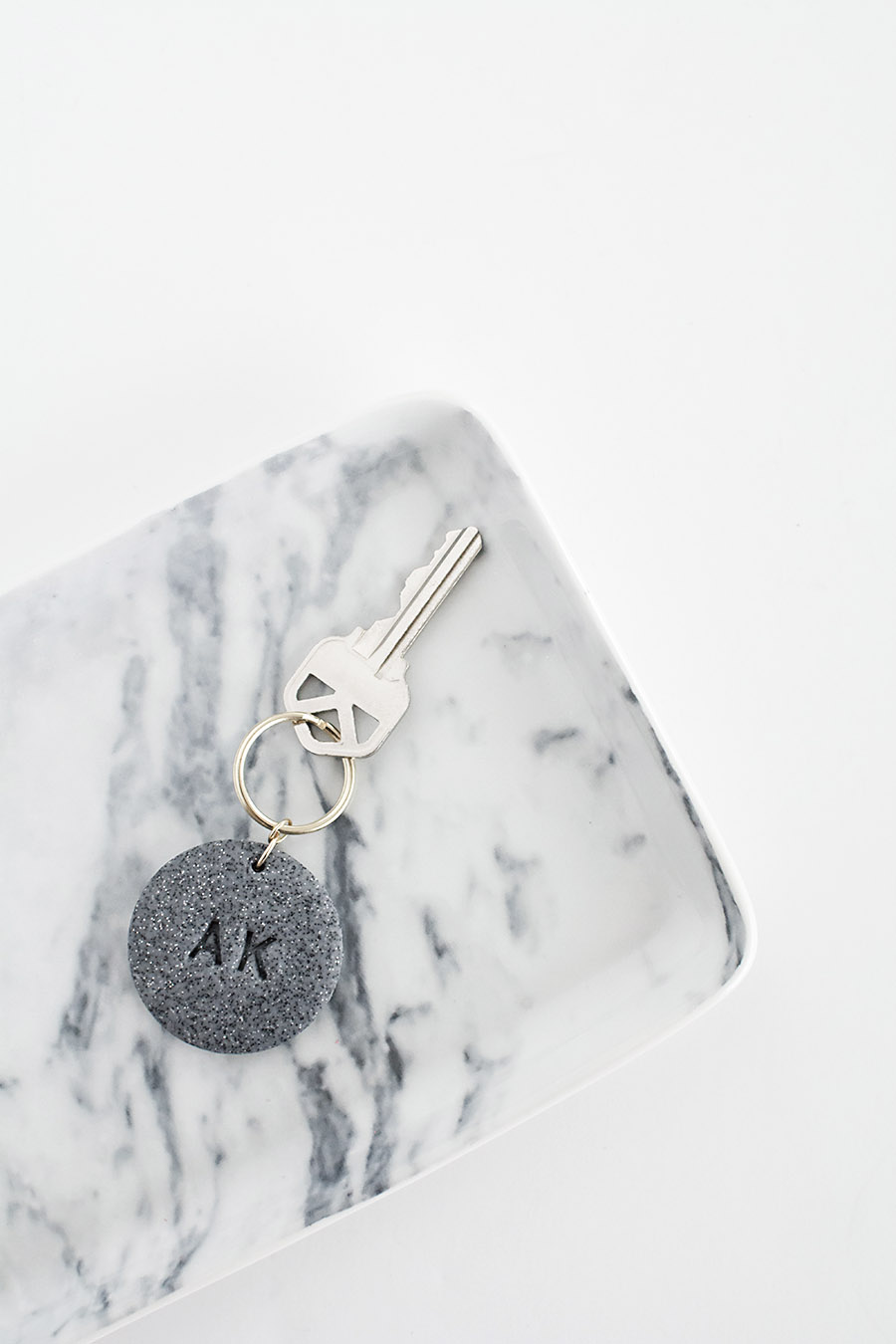 Monogram Clay Keychain
