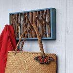 rustic twig coat rack