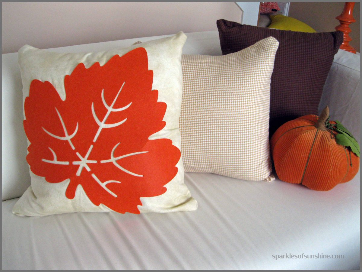 Dollar Store Leaf Pillow Cover