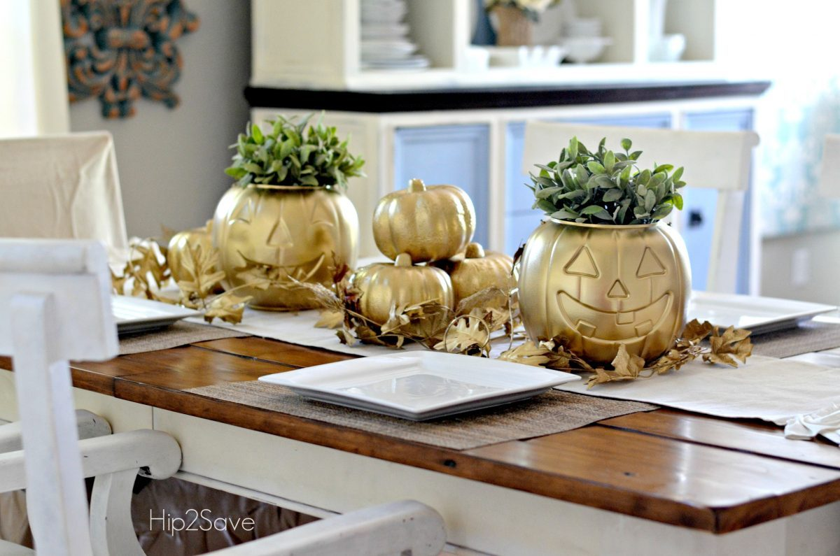Spray Painted Pumpkin Centerpieces