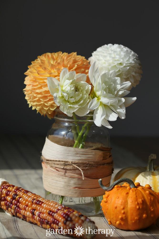 Corn Husk Wrapped Mason Jar Vase