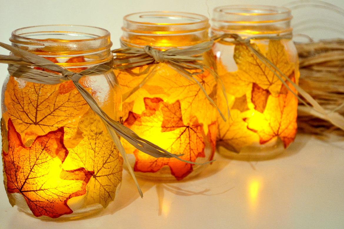 Leaf Mason Jar Candle Holders