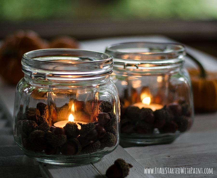 Pottery Barn-Inspired Acorn Mason Jar Votives