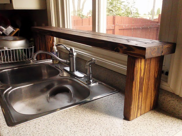 Pallet Wood Over-the-Sink Window Shelf