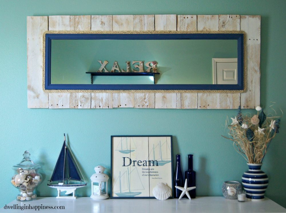 Whitewashed Coastal Pallet Mirror