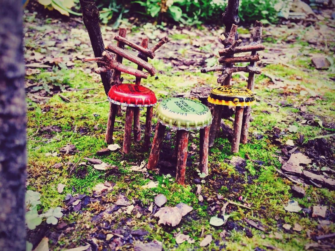 Bottle Cap Fairy Stools