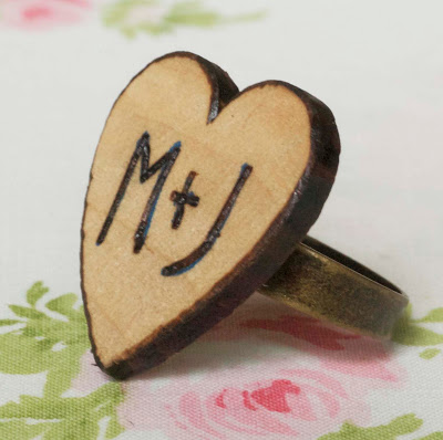 Woodburned Heart Ring