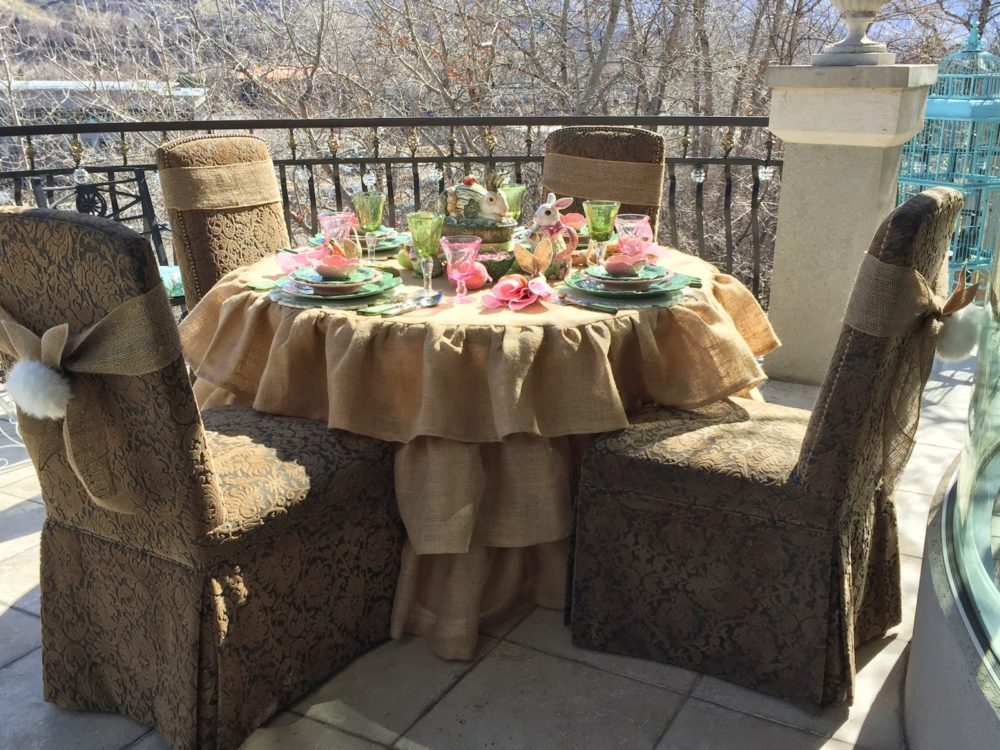 Ruffled Round Burlap Tablecloth