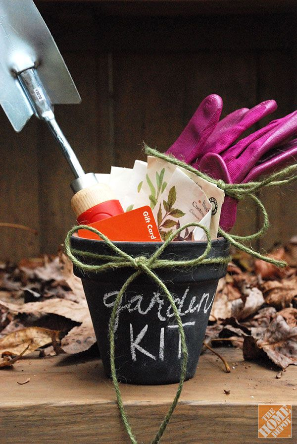 Gardening Kit in Chalkboard Pot