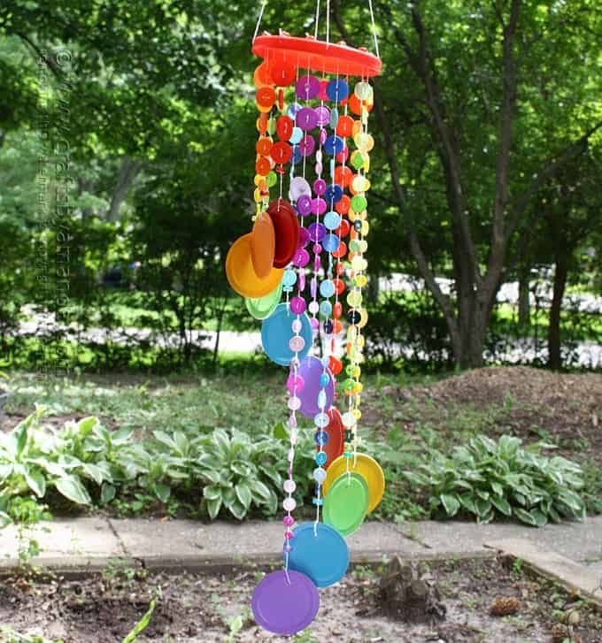 Rainbow Button Wind Chime